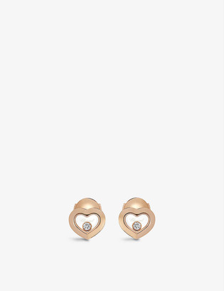 Chopard Happy Diamonds 18ct rose-gold and 0.10ct diamond earrings