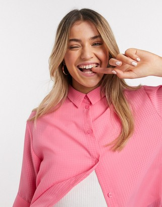 Monki Tamra seersucker short sleeve shirt in pink