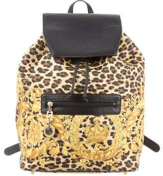 84231864a Gianni Versace Leather-Trimmed Canvas Backpack