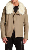 Helmut Lang Faux Fur Collar Techno Moto Jacket