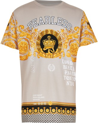 River Island Boys Beige 'Fearless' baroque print t-shirt
