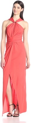 Halston Women's Halter Evening Gown with Keyhole Neck