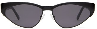Cat Eye Andy Wolf - Volta Cat-eye Metal And Acetate Sunglasses - Womens - Black