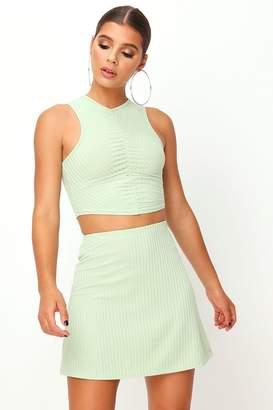 I SAW IT FIRST Sage Ribbed Ruched Front Crop Top