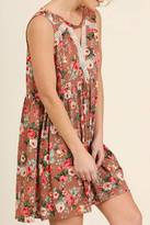 Umgee USA Taupe Floral Dress