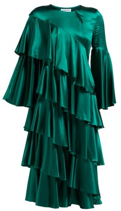 Osman Diaz Tiered Silk-blend Satin Dress - Womens - Green