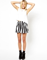 Asos Culottes in High Waist with Mono Stripe Print - Black/white