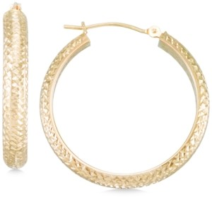 Macy's Textured Hoop Earrings in 10k Yellow Gold, Rose Gold or White Gold