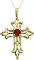 JCPenney FINE JEWELRY Lab-Created Ruby 10K Yellow Gold Cross Pendant Necklace