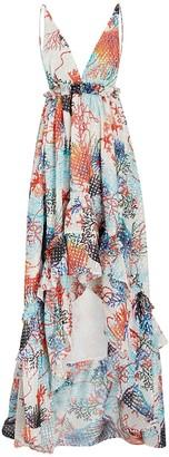 Dundas Ruffled Coral Georgette Maxi Dress