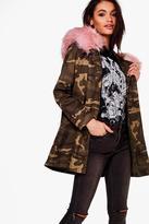 Boohoo Ashleigh Boutique Camo Faux Fur Hood Parka