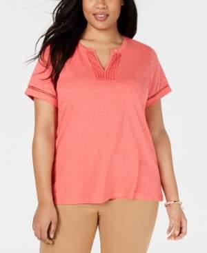 Charter Club Plus Size Cotton Crochet-Trim T-Shirt, Created for Macy's