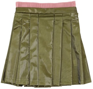 Coated Cotton Skirt W/ Pleats
