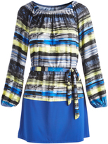 Glam Royal Blue & Yellow Stripe Tie-Waist Off-Shoulder Dress