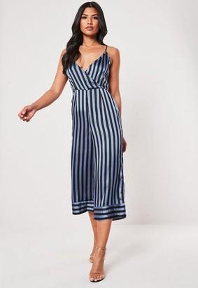 Missguided Blue Satin Stripe Wrap Culotte Romper