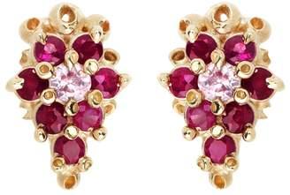 Ruta Reifen Ruby Sapphire Flower Stud Earrings