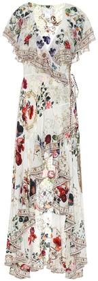 Camilla Embellished floral silk wrap dress
