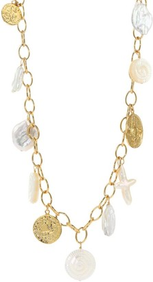 Nest White Baroque Mother-Of-Pearl & 22K Goldplated Long Coin Charm Necklace