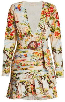 Rococo Sand Tropical Print Faux-Wrap Belted Mini Dress