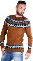 Laneus Man Jacquard Round-necked Sweater Burnt