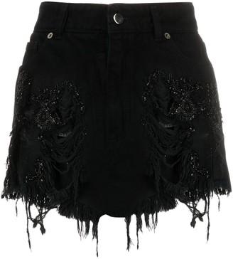 Almaz Bead-Embellished Denim Skirt
