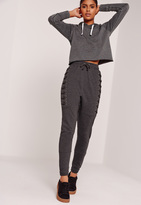 Missguided Lace Up Eyelet Size Joggers Charcoal