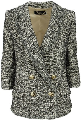 Elisabetta Franchi Celyn B. Double-breasted Tweed Jacket With 3/4 Sleeves