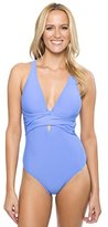Athena Women's Cabana Solids Cross Back One Piece Swimsuit