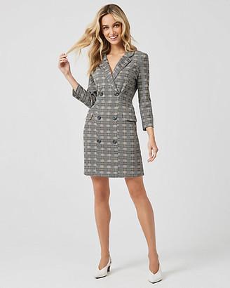 Le Château Check Print Double Knit Blazer Dress