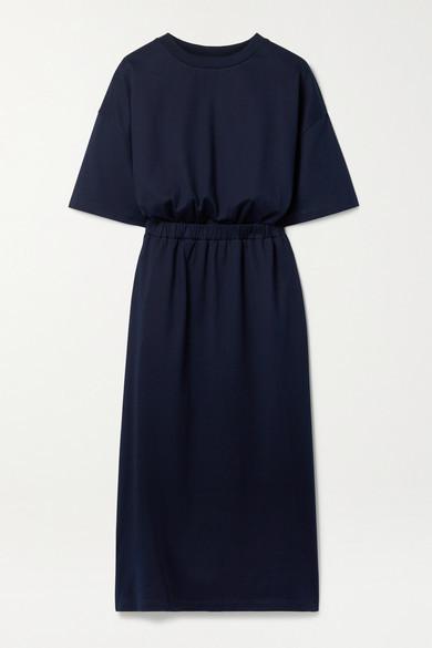 Ninety Percent + Net Sustain Gathered Organic Cotton-jersey Midi Dress - Midnight blue