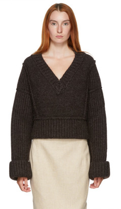 Jacquemus Brown La Maille Cavaou V-Neck Sweater