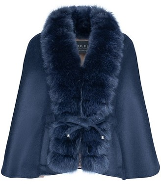 Wolfie Fur Made For Generation Fox Fur-Trim Cashmere Wool Cape