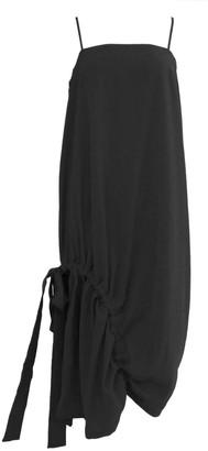 Salient Label Kai Side Drawstring Midi Dress In Black