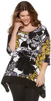M&Co Plus floral print dip hem top
