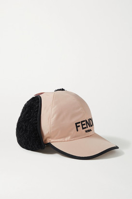 Fendi Shearling-trimmed Embroidered Shell Baseball Cap - Pink