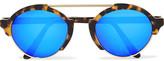 Illesteva Milan Iii Round-frame Acetate And Gold-tone Mirrored Sunglasses - Tortoiseshell