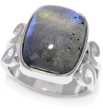 Pinctore Sterling Silver Cushion Shaped Labradorite Scrollwork Ring