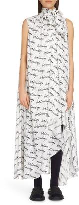 Balenciaga Stola Scribble Print Logo Jacquard Silk High/Low Dress