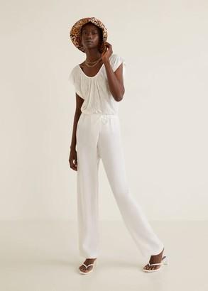 MANGO Ribbed knit top off white - XXS - Women