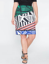 ELOQUII Plus Size Printed Scuba Pencil Skirt