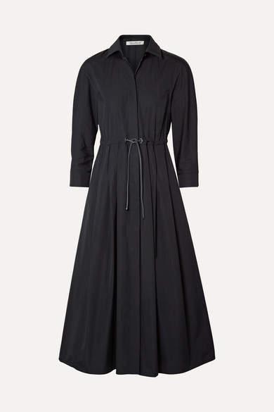 Max Mara Belted Pleated Cotton-poplin Midi Dress - Navy