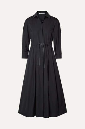 Max Mara Belted Pleated Cotton-poplin Midi Dress - Navy