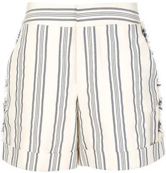 Monse Fringed Striped Print Shorts