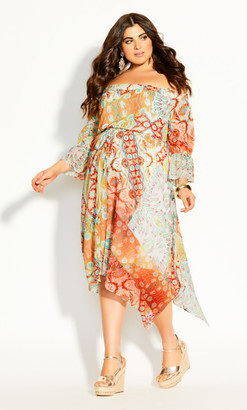 City Chic Saffron Dress - saffron