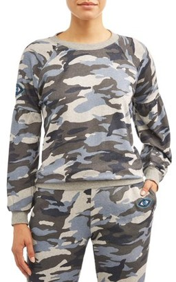 Sofia Jeans By Sofia Vergara Sofia Jeans Drop-Shoulder Camo Crewneck Sweatshirt Women's