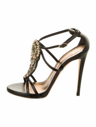 Giuseppe Zanotti Leather Crystal Embellishments T-Strap Sandals Black