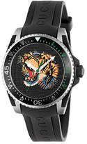 Gucci 40mm Dive Tiger Watch w/ Rubber Strap, Black/Yellow
