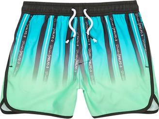 River Island Boys Green stripe Prolific swim shorts