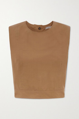 Three Graces London Rosie Open-back Cropped Cotton-poplin Top - Tan