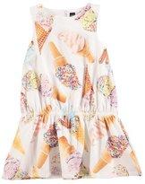 Molo Catalina Racerback Ice Cream Cone Dress, White, Size 2T-10